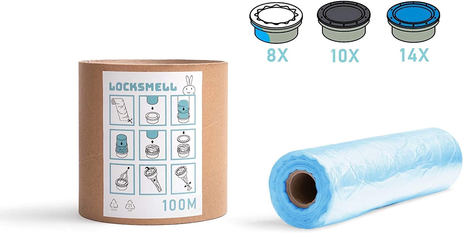 Angelcare /& Litter Locker II cartridges| Made From Recycled Materials LOCKSMELL Nappy Bin Liner Refill Tube For Easy Refilling 100m Compatible with Tommee Tippee Sangenic