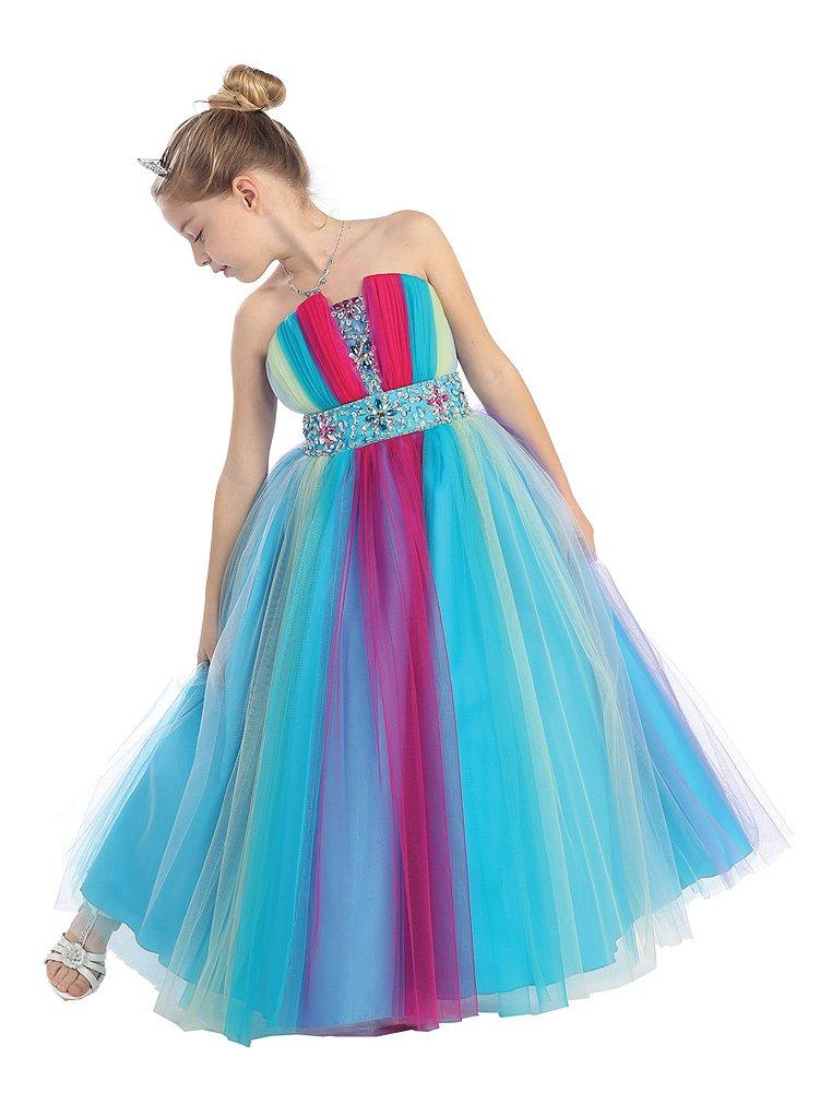 Wonderfuldress Rainbow Sequin Tulle Pageant Dress-rainbow-10