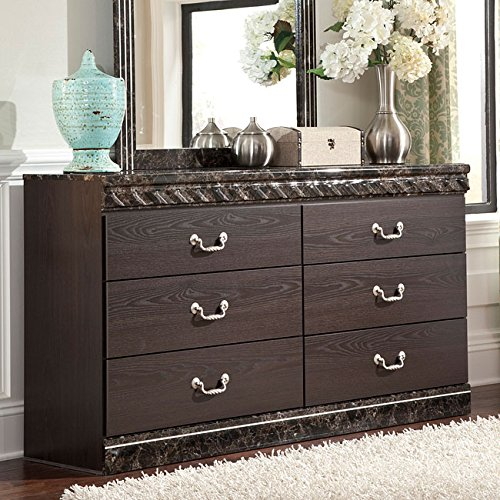 Signature Design by Ashley B264-31 Vachel Collection Dresser, Dark Brown - Autumn Oak Finish Mirror