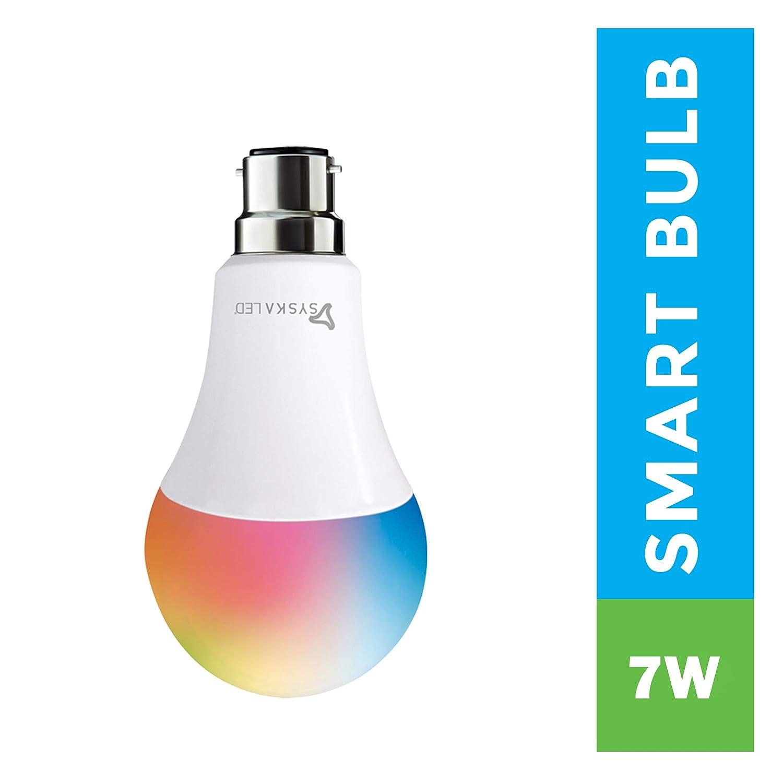 Syska Wi-Fi Enabled Smart LED Bulb B22 7-Watt (16 Million Colors) (Compatible with Amazon Alexa and Google Assistant)