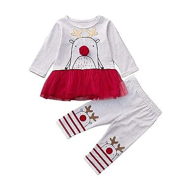 72dc67e5232ea Amazon.com: SUNBIBE🎅Christmas Outfits Set Kid Baby Girls Cartoon Reindeer Long  Sleeve Splice Tutu Top Xmas Striped Pant Clothes Set: Clothing