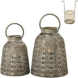 The Grand Tour Temple Bell Lanterns, Set of 2, Hurricanes, Distressed Gold, Weathered, White Gray Patina, Iron, 10 1/4 and 8 1/4 Diameter Inches, Inner Floating Candle Holder and Glass, Loop Handles