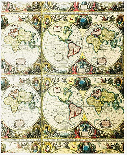 World Traveler Atlas Map Novelty Gifting Gift Present Wrapping Paper 2.5' x 12'