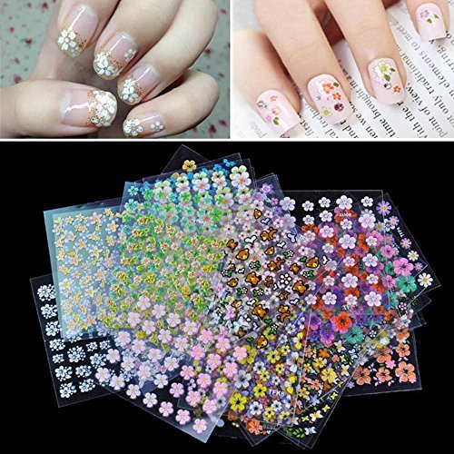 Nail art white flowers amazon anself 50 sheet 3d mix color floral design nail art stickers decals manicure beautiful fashion accessories decoration mightylinksfo