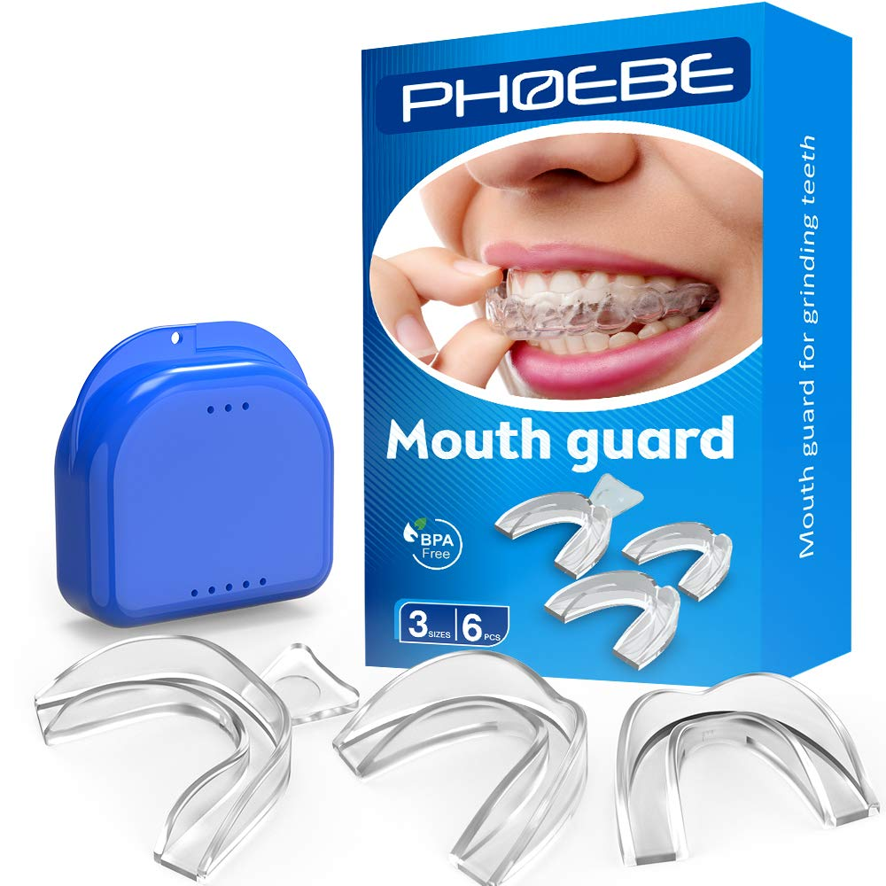 PHOEBE Mouth Guard for Grinding Teeth Night Guards for Teeth Grinding Mouldable Tooth Bite Guard Stop Teeth Grinding Clenching Eliminates Bruxism, TMJ -3 Sizes, 6 Pieces