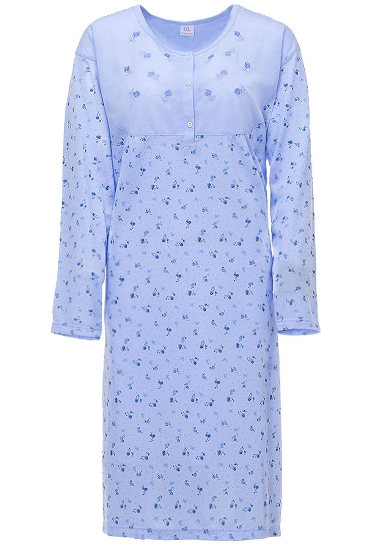 Lucky Camicia da Notte Donna Manica Lunga a Fiori