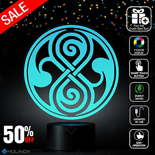 [Doctor Who Seal of Rassilon Lighting Decor Gadget Lamp + Sticker Decor for Perfect Set, Awesome Gift] (Full Cyberman Costume)