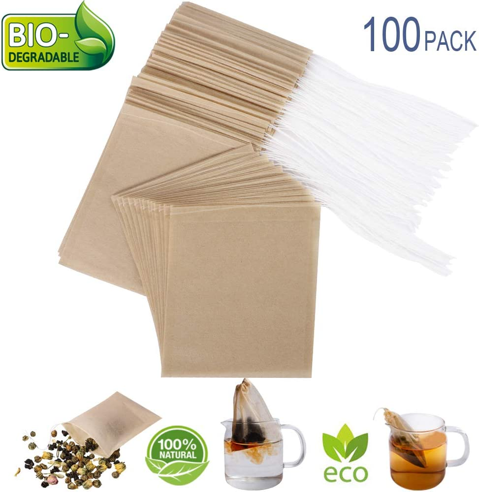 "Eco-Fil Disposable Tea Filter Bags for Loose Tea, Wood Pulp Material, Biodegradable and Compostable, Unbleached Empty Tea Infuser Sachets with Drawstring, 100 Pack (3.2"" x 4.0"")"