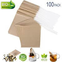 Eco-Fil Disposable Tea Filter Bags for Loose Tea, Wood Pulp Material, Biodegradable and Compostable, Unbleached Empty Tea Infuser Sachets with Drawstring, 100 Pack (3.2″ x 4.0
