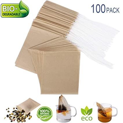 Eco-Fil Disposable Tea Filter Bags for Loose Tea, Wood Pulp Material, Biodegradable and Compostable, Unbleached Empty Tea Infuser Sachets with ...