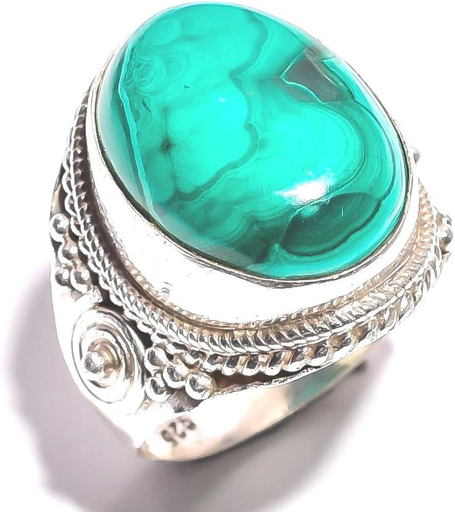 mughal gems & jewellery - Anillo de Plata de Ley 925 con Piedra de malaquita Natural (tamaño 9,25 US)