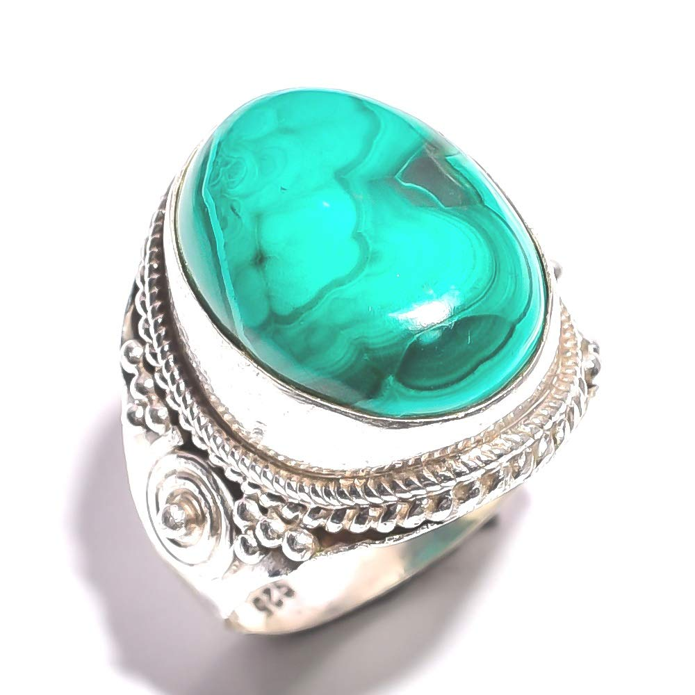 mughal gems /& jewellery 925 Sterling Silver Ring Natural Malachite Gemstone Fine Jewelry Ring Size 9.25 U.S