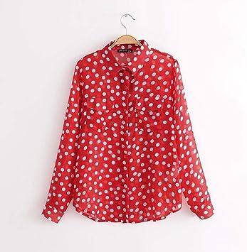 Cnsdy Camisas para Mujeres Camisa de Manga Larga con Lunares Rojos y Lunares Estilo Vintage: Amazon.es: Deportes y aire libre