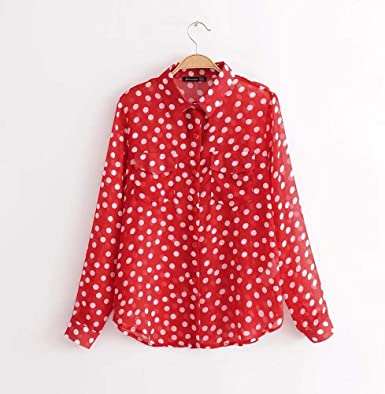 Cnsdy Camisas para Mujeres Camisa de Manga Larga con Lunares ...