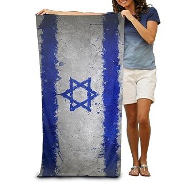 Toallas de playa Yissalvunaz azul blanco con bandera de Israel de lujo, 100% poliéster, ...