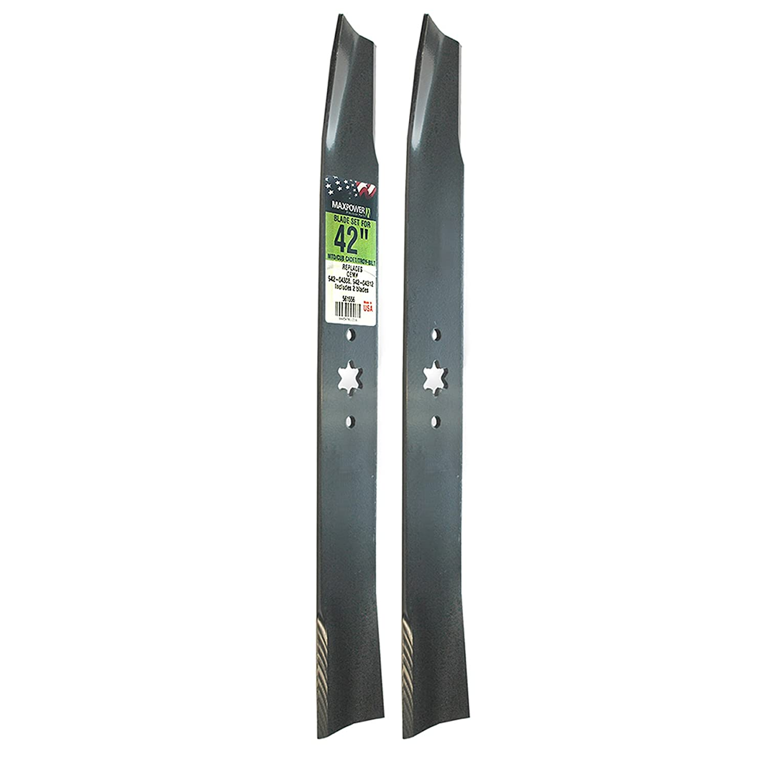 "Maxpower 561556 (2) Blade Set for 42"" Cut MTD, Cub Cadet, and Troy-Bilt Replaces OEM No. 742-04308, 742-04312, 942-04308, 942-04312, 119-8456"