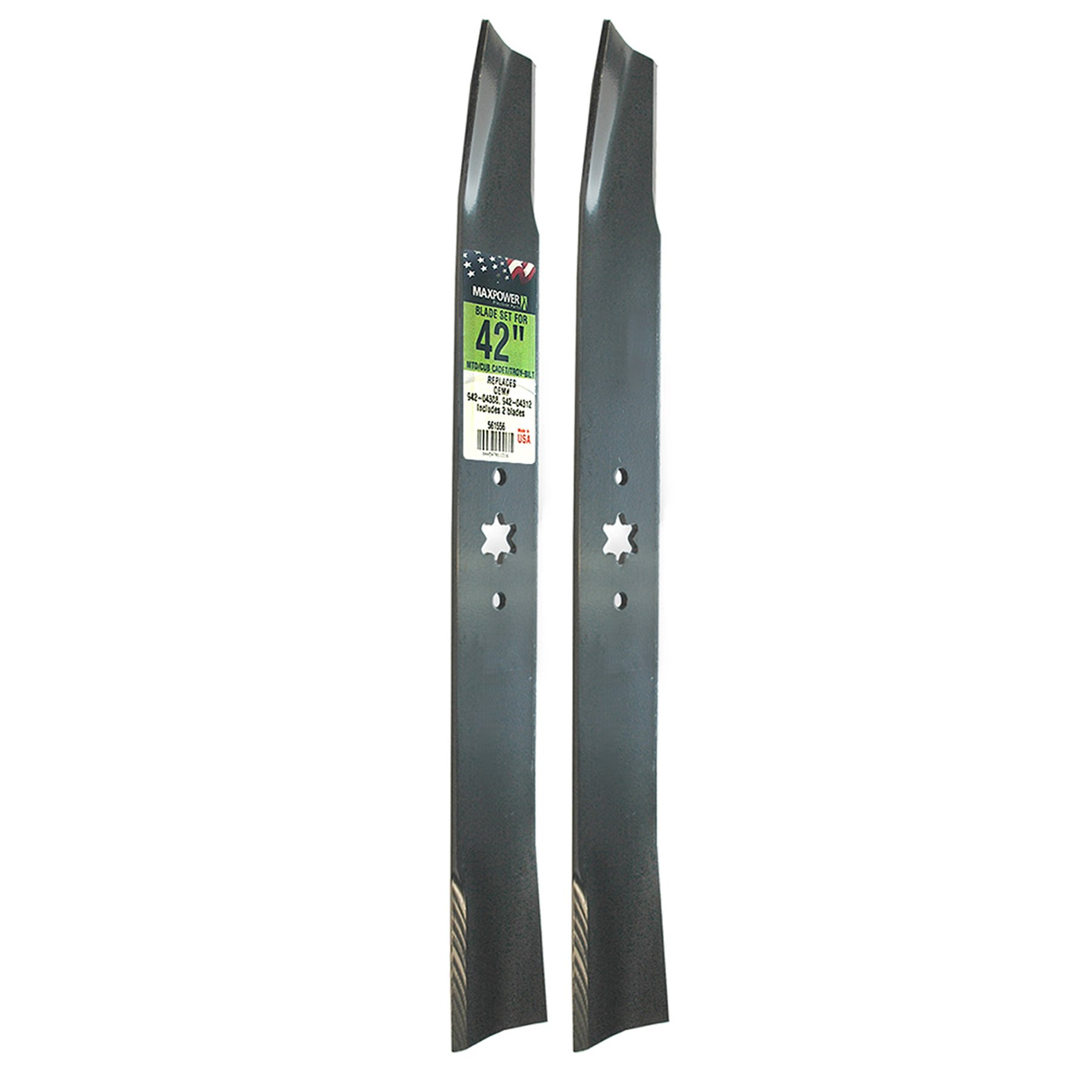 Maxpower 561556 (2) Blade Set for 42'' Cut MTD, Cub Cadet, and Troy-Bilt Replaces OEM # 942-04312 and 942-04308