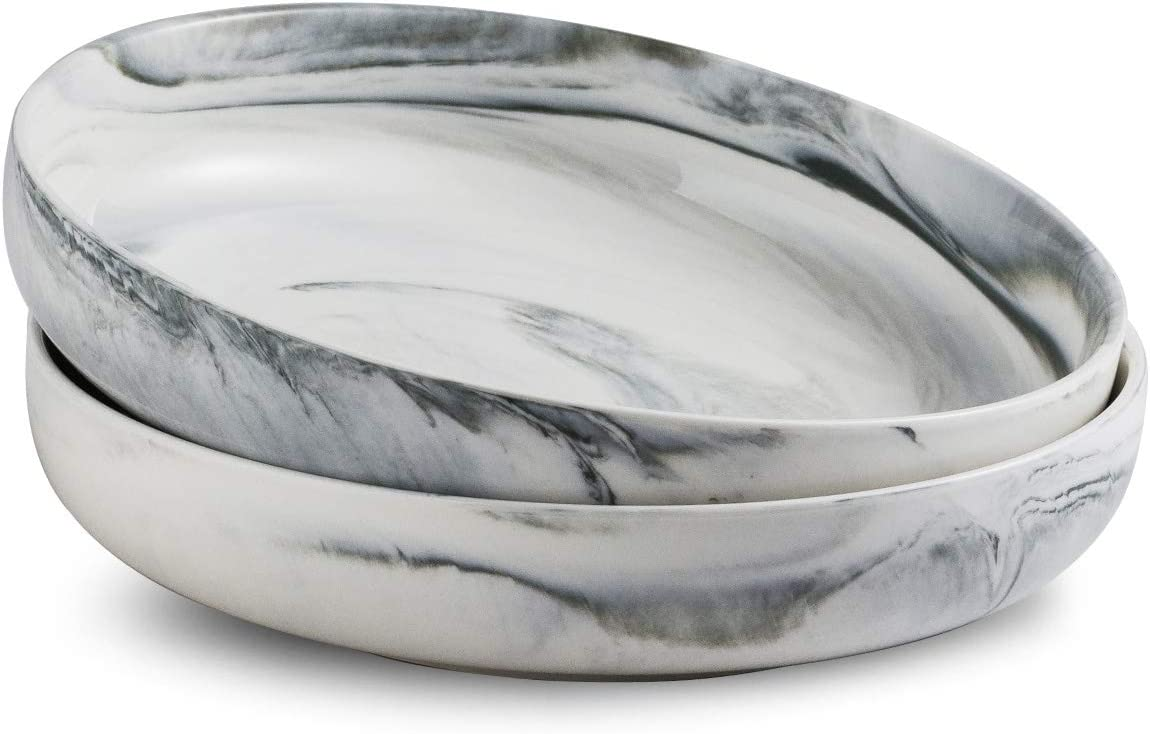 Porcelain Serving Bowl Set Ceramic Serving Bowl Set Salad Pasta Bowl Set 2 Pack, Grey Marble, Stackable 10-inch
