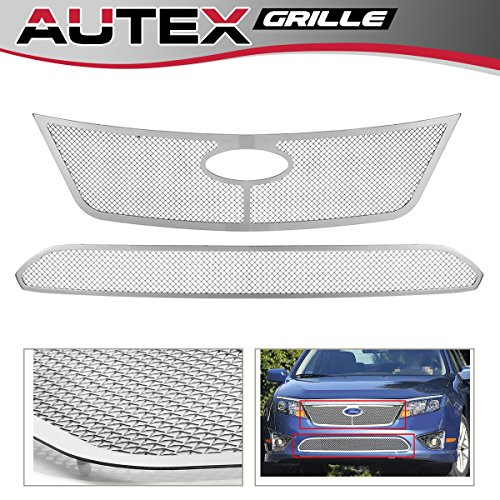 AUTEX Stainless Steel Main Upper+Lower Bumper Mesh Grille Combo Insert Compatible With Ford Fusion 2010 2011 2012 Grill Insert F71020T ()