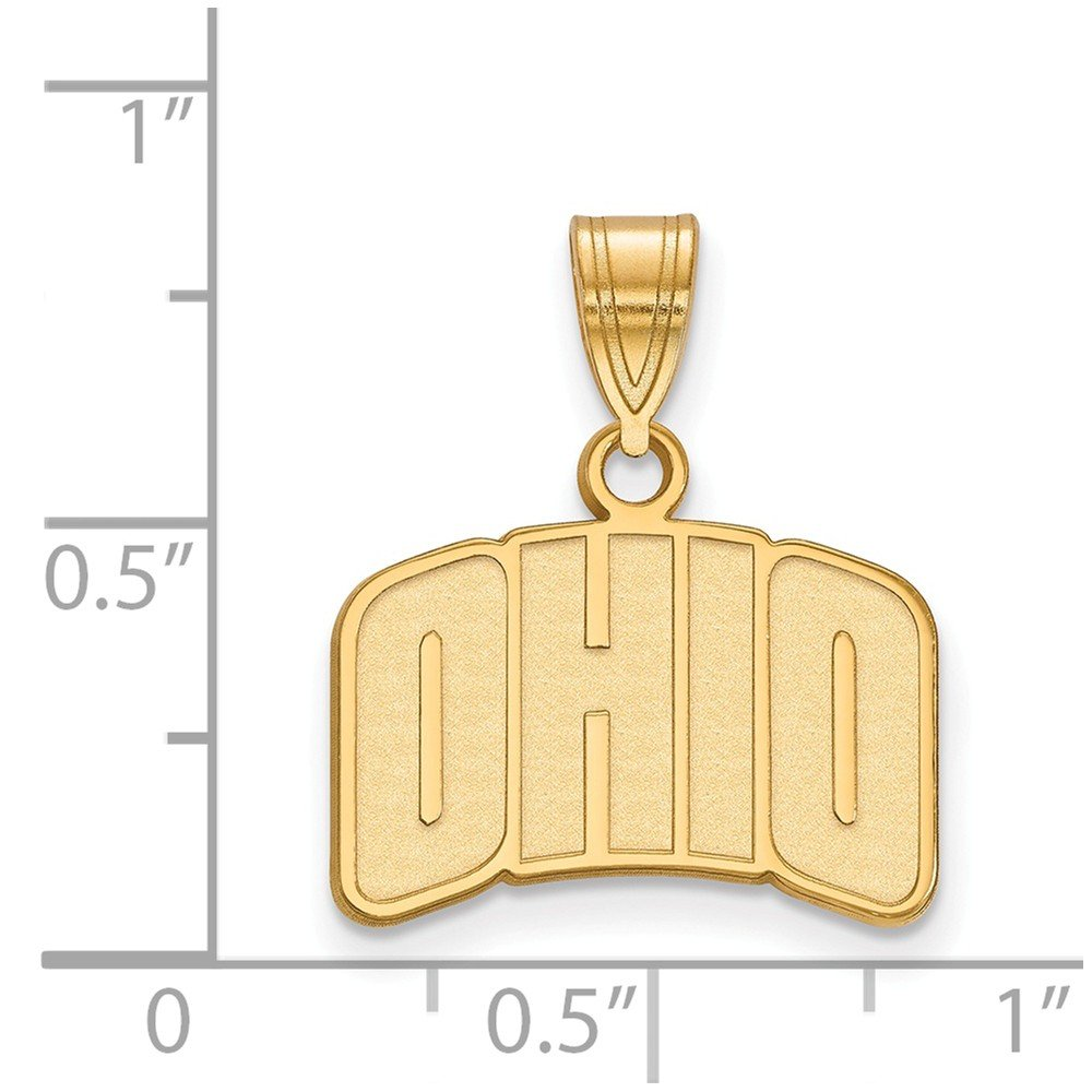 17mm x 19mm Jewel Tie 925 Sterling Silver with Gold-Toned Ohio University Small Pendant