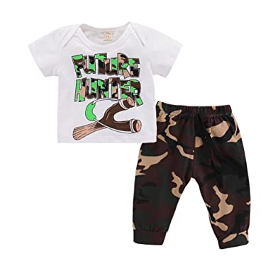 c525c90f0 Amazon.com: DIGOOD Toddler Baby Boys Letter T-Shirt Tops+Camouflage Pants,  for 0-24 Months, Kids 2Pcs Outfits Summer Clothes Sets: Clothing