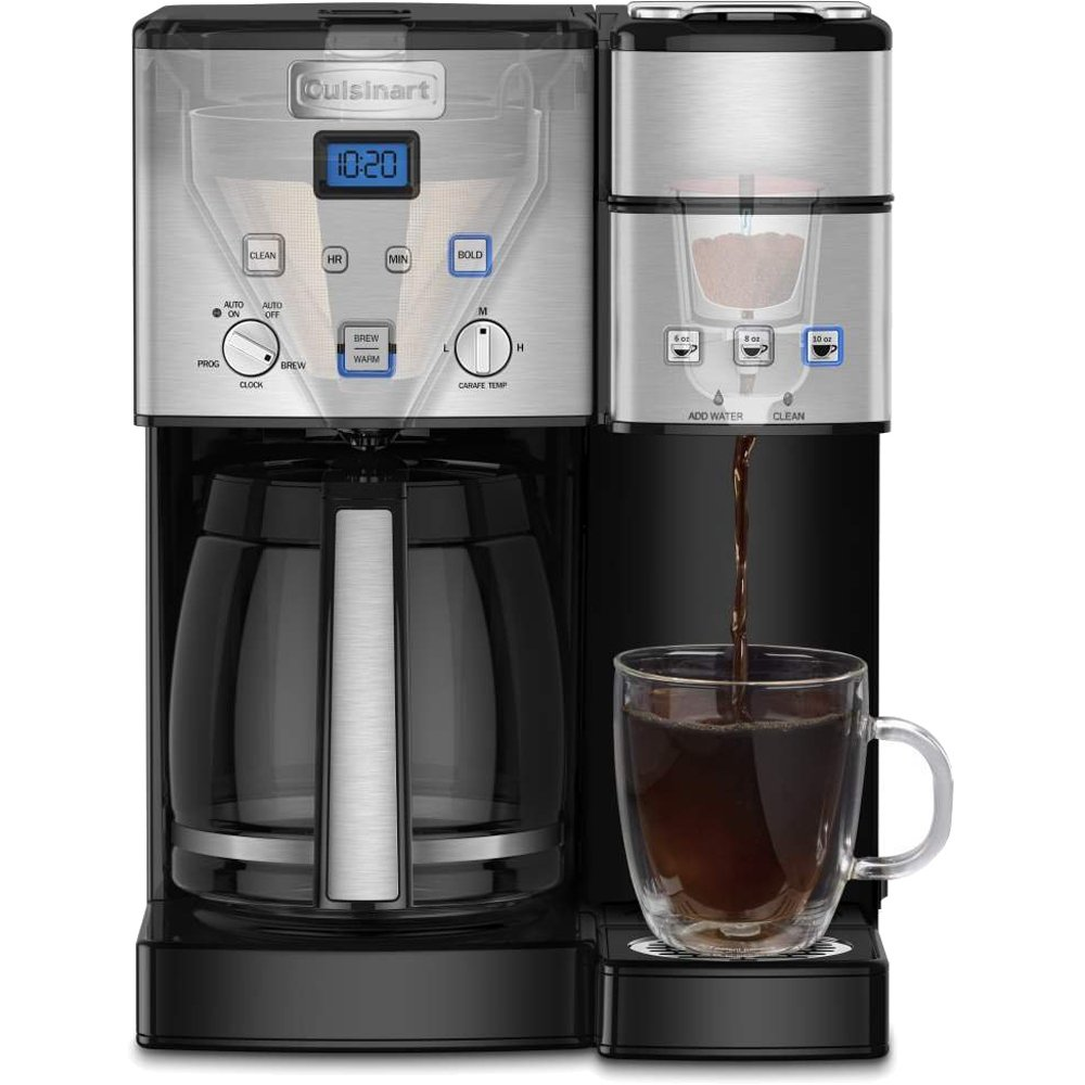 Cuisinart 12-Cup Coffee Maker and Single-Serve Brewer Stainless Steel (SS-15) with Milk Frother - Handheld Electric Foam Maker for Coffee, Latte, Cappuccino & Stainless Steel Milk Frothing Pitcher by Cuisinart (Image #4)
