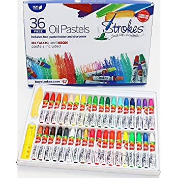 Premium Oil Pastels 36 Assorted Colors Non Toxic, Smooth Blending Texture, Ideal For All Artist Levels Metallic and Neon Colors