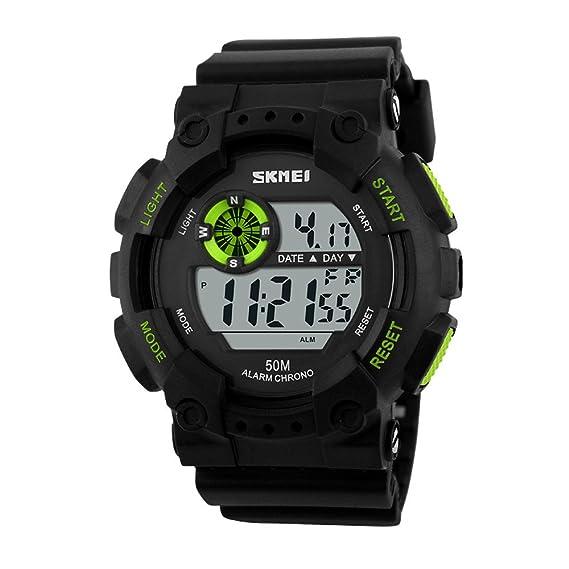 carlien Mens deportes al aire libre impermeable multifuncional reloj Casual LED Digital muñeca relojes (verde