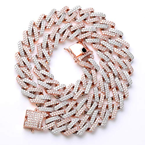 TOPGRILLZ 14mm Simulated Lab Diamond Iced Out Bling Miami Curb Link Choker Chain Necklace for Men Hip Hop (Rose Gold and Silver, 22) ()