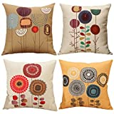 Freeas Cushion Cover, Set of 4 Tropical Cotton Linen Flowers Pillowcase Square Hull House Sofa Cover 45 x 45 cm (C)