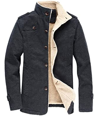 9d22bb9d5 SYTX Men Single Breasted Fleece Lined Quilted Stand Collar Jacket Coat  Black XS