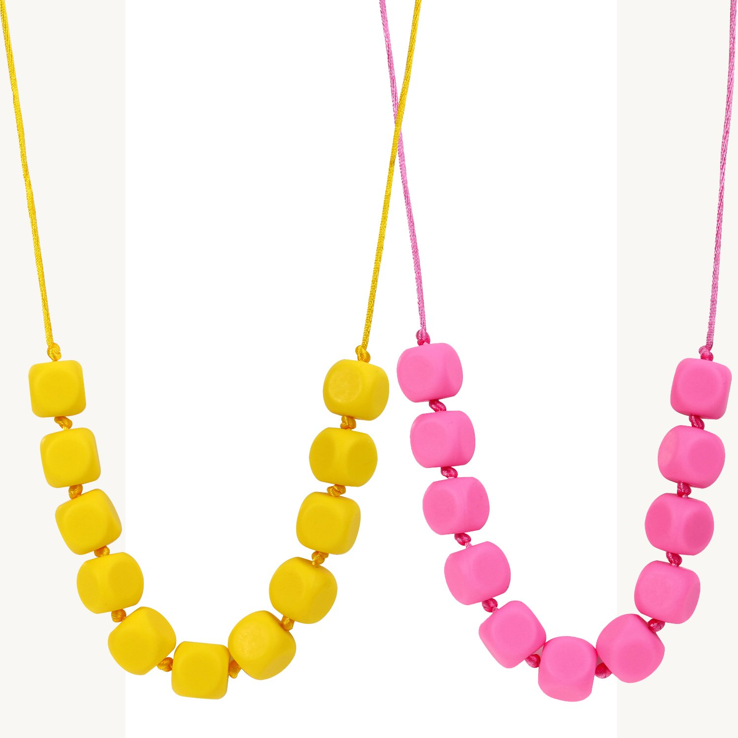 MyBoo Autism/Sensory/Teething Chewable Funky Square Beaded Necklace - Set of 2, Pink/Yellow by MyBoo   B012U9BMT6
