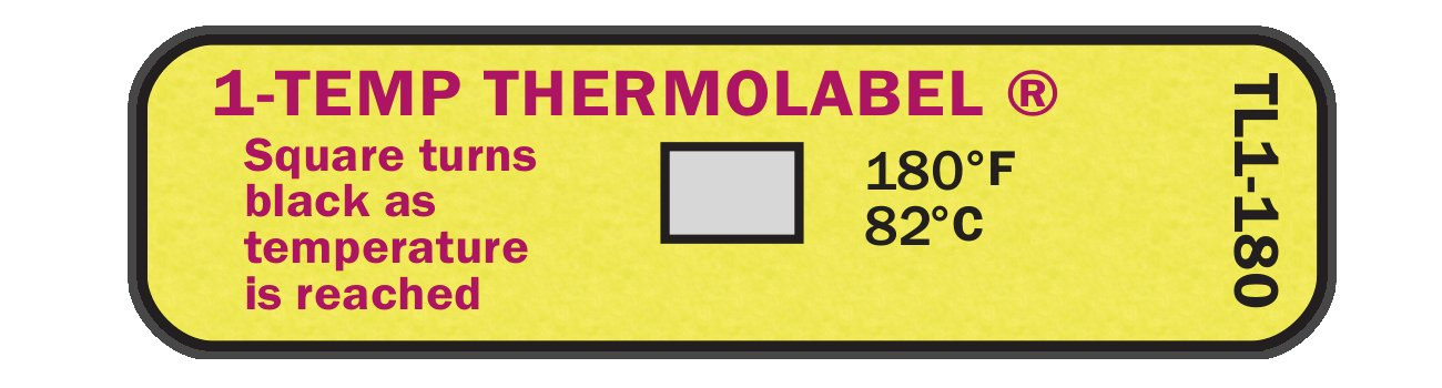 1-Temp Thermolabel 180°F/82°C Temperature Label for Cage Washers Pack of 24 Labels by Paper Thermometer