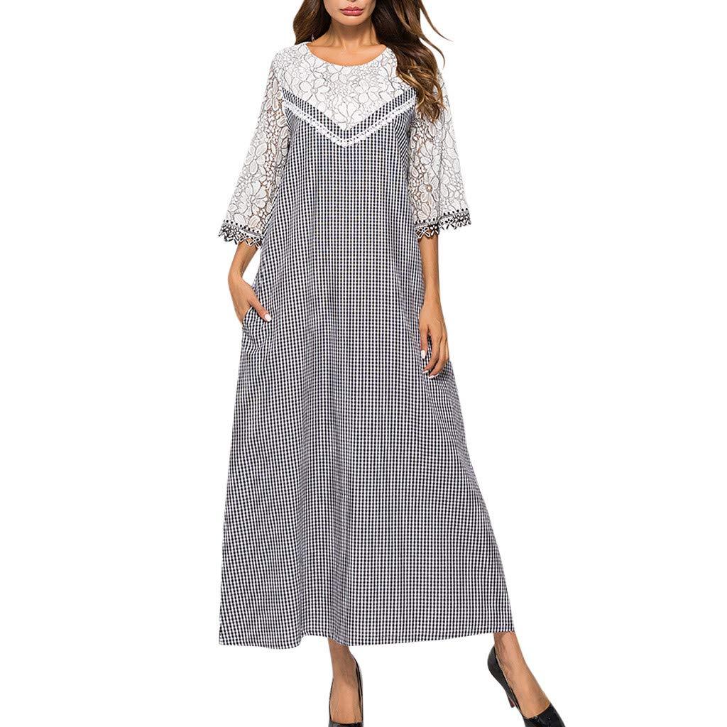 Women's Vintage Plaid Short Sleeve Ladies O-Neck Ankle-Length Dress Black
