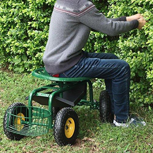 Yaheetech Green Heavy Duty Garden Cart Rolling Work Seat w/Tool Tray Gardening Planting Yard by Yaheetech (Image #3)