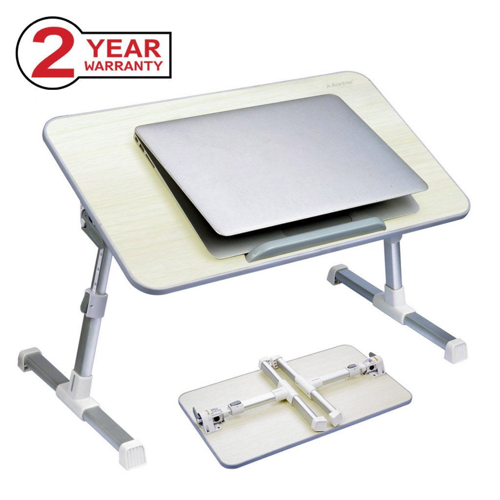 Avantree Adjustable Laptop Bed Table, Foldable Breakfast Tray, Portable Lap Standing Desk, Notebook Stand Reading Holder for Couch Sofa Floor Kids (Honeydew) - Standard Size HDLP-TB101-GRY