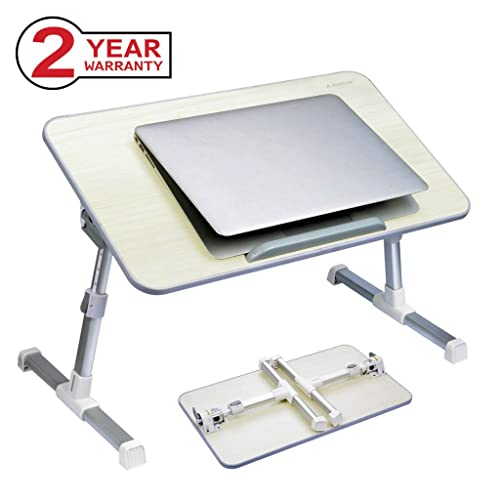 Avantree Adjustable Laptop Bed Table, Foldable Breakfast Tray, Portable Lap Standing Desk, Notebook Stand Reading Holder for Couch Sofa Floor Kids (Honeydew) - Standard Size