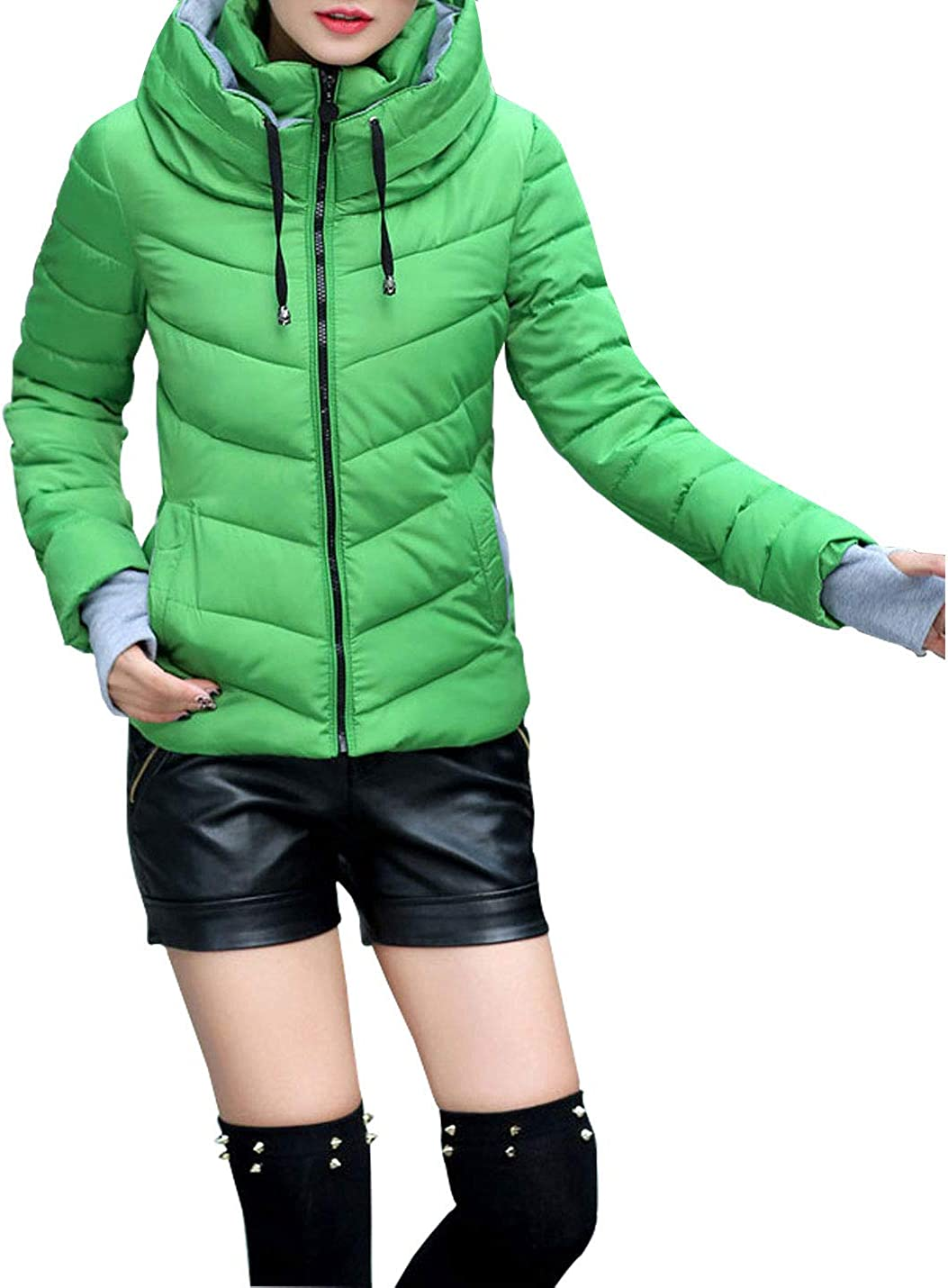 Omoone Womens Hooded Cotton Quilted Slim Fit Cropped Parka Jacket Short Coat