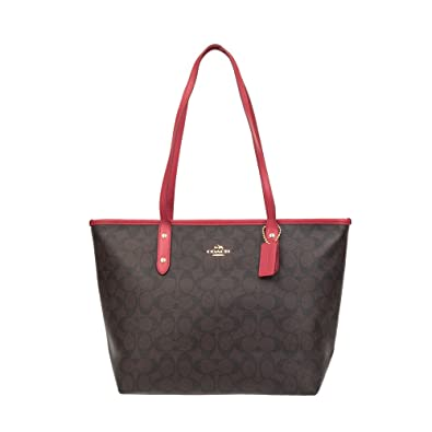 ... where can i buy coach signature zip tote tote bag handbag purse brown  red b67e1 e00b7 fd52cf2f07402