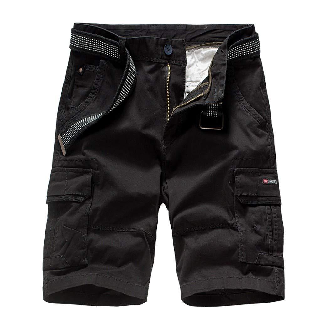 Pantalones Cortos Cargo para Hombre Moda Color Sólido Corte clásico Slim Fit Algodón Cómodo Transpirables Pantalones Casuales de Negocios Shorts de Rodilla 28-38 MMUJERY