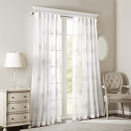 Sheer Curtains For Bedroom Transitional Fabric White Curtain Living Room Massa Embroidered