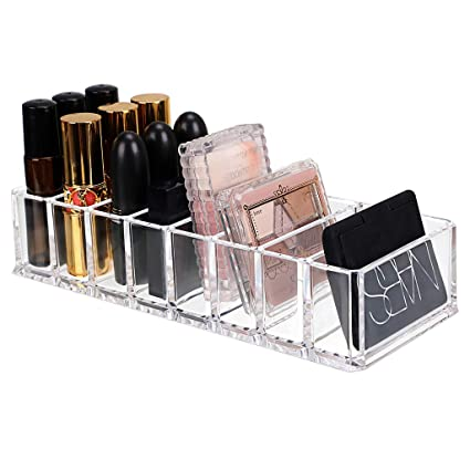 862c665b070e Hipiwe 8 Spaces Acrylic Makeup Organizer Cosmetic Makeup Products Storage  Containers Beauty Care Holder Vanity Organizers for Blushes, Highlighters,  ...