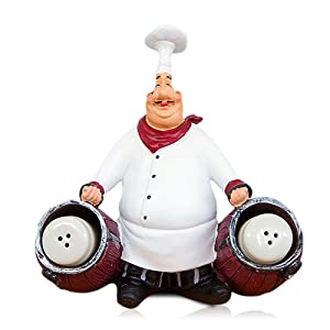 FishMM Resin Decorative Ornaments,Kitchen Decor,Cook Statue,French Chef Figurines with Toothpick Holder