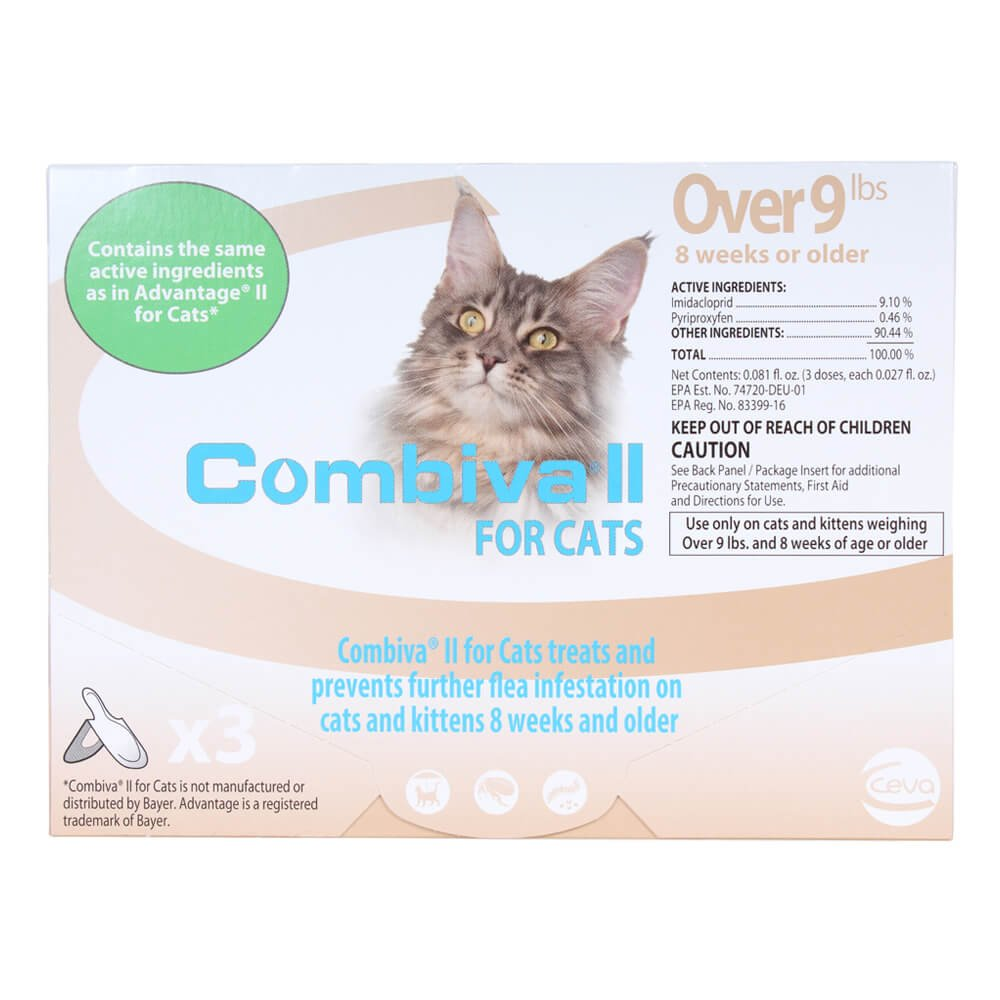 CEVA Animal Health D93120B Combiva II for Large Cats +9 lbs. (3 Pack) Pet Flea Drops