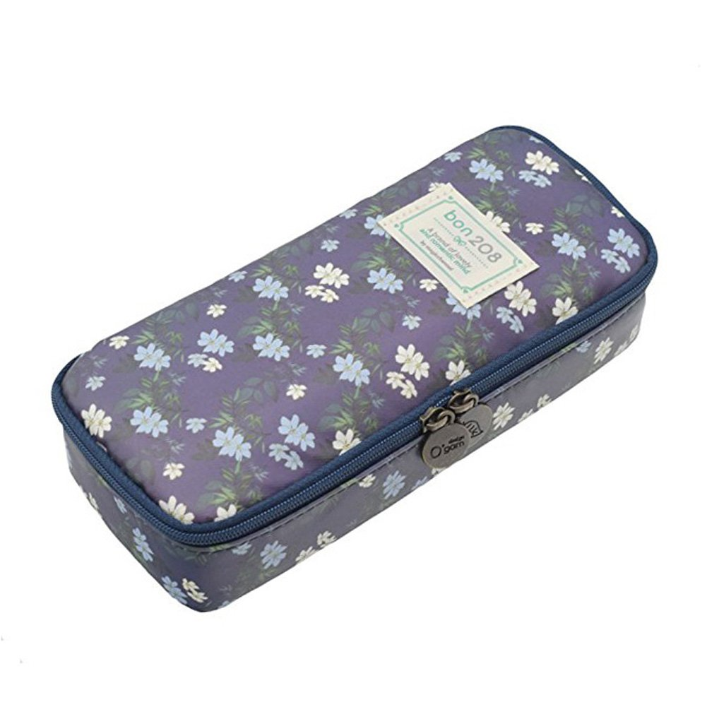 Vintage Stationery Large Capacity Canvas Floral Flower Pencil Case Box Pen Bag Pouch with Zipper for Girls (Navy Blue-A)