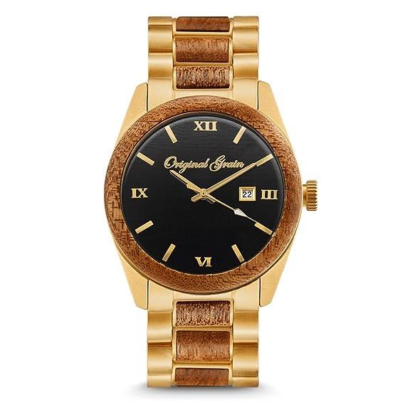 Original Grain Reloj de pulsera analógico, colección Classic, de madera y acero inoxidable, movimiento de cuarzo japonés: Original Grain: Amazon.es: Relojes