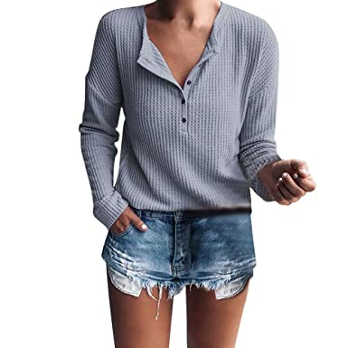 471f7243858 XOWRTE Women s Henley Shirt Rib Knit Blouse Button Long Sleeve Tunic  Pullover Sweater Tops at Amazon Women s Clothing store
