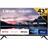 Caixun EC43S1A, 43 inch UHD HDR Smart Android TV with Google Assistant (Voice Control), Bluetooth,Wi-Fi,Chromecast Built-in,