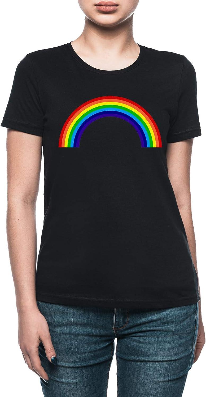 Vendax Arco Iris - Arco Iris Camiseta Mujer Negro: Amazon.es: Ropa y accesorios