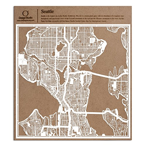 Seattle Paper Cut Map by O3 Design Studio White 12x12 inches Paper Art]()